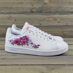 adidas Advantage Leather Sneakers White/Floral NEW